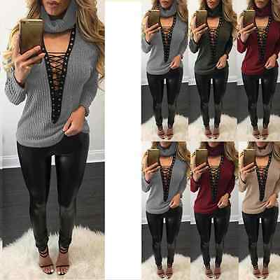 Women Choker Lace-up High Neck Knitted Sweater Long Sleeve Casual Top Jumper UK