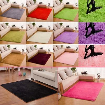 Fluffy Rugs Anti-Skiding Shaggy Area Rug Dining Room Bedroom Carpet Floor Mat TL