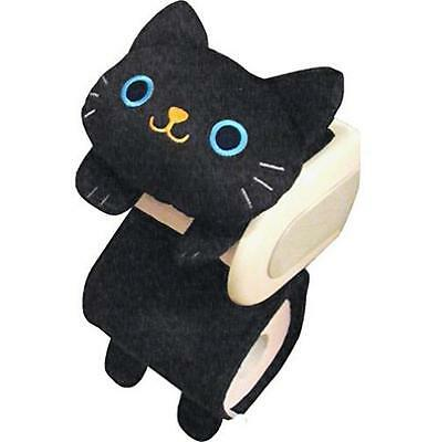 Cat Toilet Paper Holder Roll Storage Cover Black