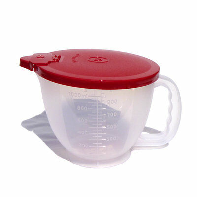 Tupperware NEW Small Classic Mix n Pour Stor Measuring Jug 1 l Deep Red Clear