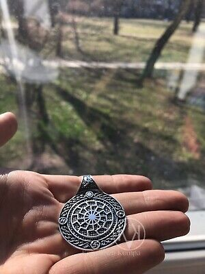 SolidBIG Sterling Silver 925 Duplex Valkyrie and Black SUN Pendant Amulet VIKING
