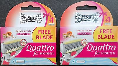8 X Wilkinson Sword Quattro For Women Papaya And Pearl Complex
