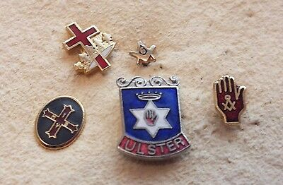 Vintage Masonic And Ulster Pin Enamel Pin Badges - Nice Condition - Ref BB85