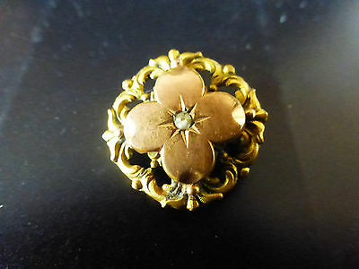 Broche Ancienne En Plaque Or