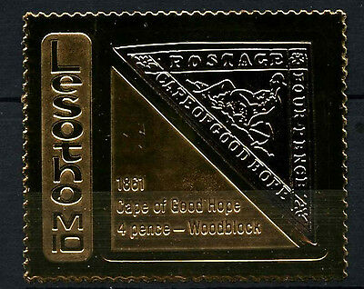 Lesotho 1981 Cape Of Good Hope 4d Woodblock Gold Stamp MNH #D40175