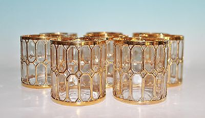 VTG Imperial Glass Spanish Windows Double Old Fashioned Glasses Set 8 Gold