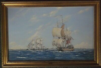 FRAMED OIL ON BOARD PAINTING by F.PRINCE A THIRD RATE AND FRIGATE OFF PORTSMOUTH