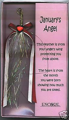 Angel Feather Wing with January Birthstone Heart, New