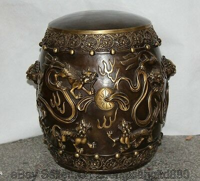 """16"""" Chinese Dynasty Palace Bronze Lion Play Ball High Chair cfootstool F"""