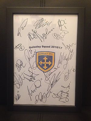 GUISELEY FC X21 NEW 2016/17 Hand Signed Framed A4 Autograph Sheet