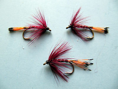 sizes10,12,14 Available 3 x CLARET PENNELL WET TROUT FLIES