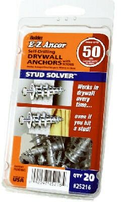 EZ Ancor, 20 Pack, #50 Stud Solver Self Drilling Metal Drywall Anchors 25216