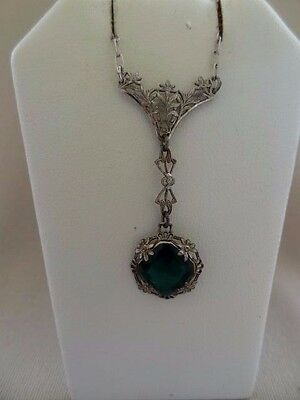 Lovely ART DECO Sterling Filigree Faux Emerald Necklace