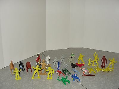 VIntage lot of 30 Play Set Figures mostly Cowboys and Indians