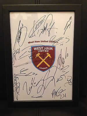 West Ham United FC NEW 2016/17 Hand Signed Framed A4 Autograph Sheet,Inc Payet