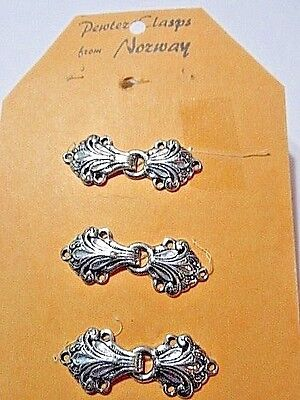 Vintage New Old Stock Lot Three Detailed Fancy Buckles Clasps Pewter Norway