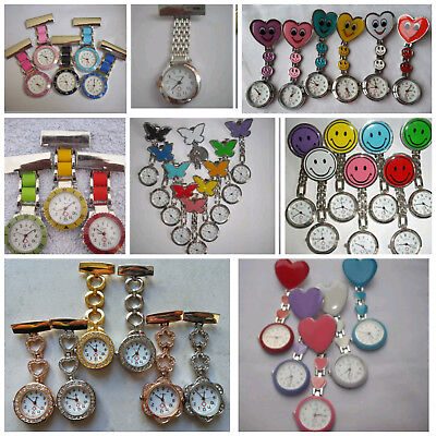From 99p Nurse watch Butterfly Smiley Heart stainless steel fob medical 7 Styles