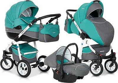 RIKO NANO PRAM 3in1 CARRYCOT + PUSH CHAIR + CAR SEAT