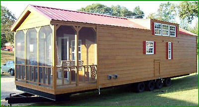 2017 12x40 RUSTIC CABIN PARK MODEL MOBILE TINY HOME-PORCH-FOR RV PARK-TENNESSEE