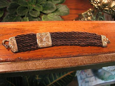 Antique 1880's Woven Hair Mourning Watch Fob - Gold Plated - Ornate