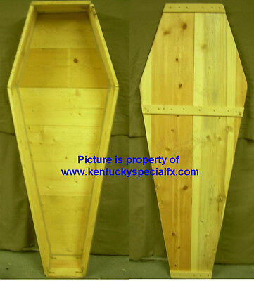 Real Wood Coffin Toe Pincher Casket Old West Funeral Halloween Prop Pine Box NEW