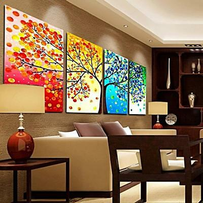 4PC ABSTRACT Canvas Print Oil Painting Pictures Wall Art Decor Seasonal Tree