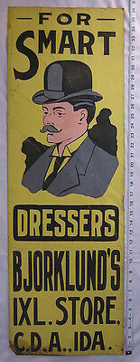 """ITHACA SIGN WORKS TIN SIGN circa 1910 COEUR d'ALENE IDAHO """"FOR SMART DRESSERS"""""""