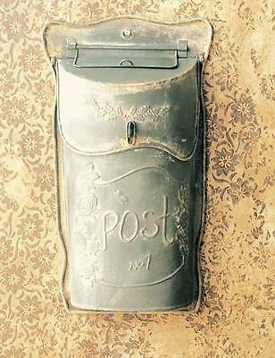 Metal Wall Mounted Post Mailbox~SLIM~Vintage Style Stamped Galvanized Tin