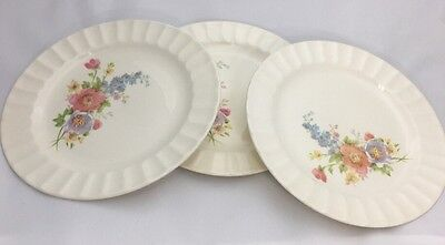 3 Salad Plates Edwin M Knowles Spring Bouquet