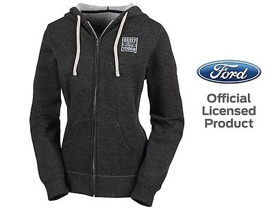 Women's Built Ford Tough Nighthawk Hoodie Jacket Official Licensed Black Silver
