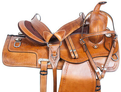 Used Ranch Roping Pleasure Trail Western Leather Horse Saddle Tack Set 15 16 17