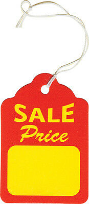 1000 Large Sale Price Tags With Strings Red/Yellow
