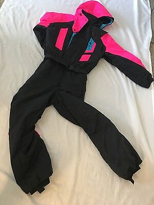 Vtg 80s Neon ROFFE Mens SMALL Onesie Snow SKI Suit BIB Jacket Coat Snowsuit S