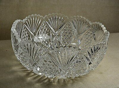 """Eapg 9"""" Pattern Glass Salad/berry Bowl - Fans Buttons Pattern"""