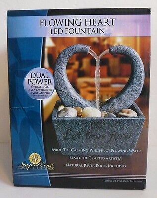 NEW Newport Coast Flowing Heart LED Fountain - Indoor Water Feature Feng Shui