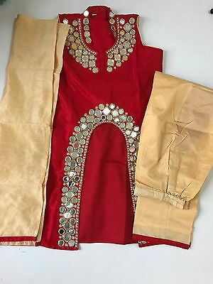 $25  sangeet/ wedding Indian Anarkali suit Girls 7-8 yrs WEDDING PLAZO Size 32
