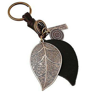 Creative Leather Retro Carved Leaf Keyring Keychain Alloy Key Ring Chain Gift S