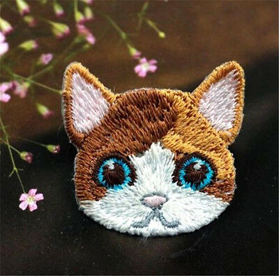 Embroidered Cloth Iron On Patch Sew Motif Applique Cute Cat Head DIY Patch S