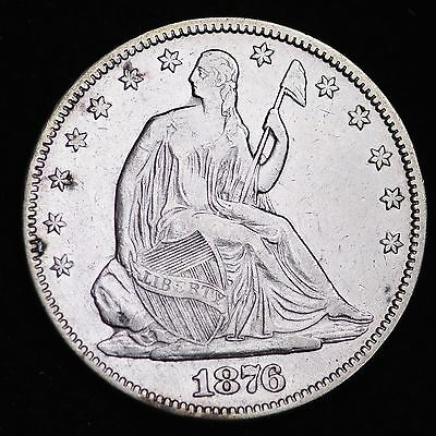 1876 Seated Liberty Half Dollar CHOICE XF FREE SHIPPING E356 FM