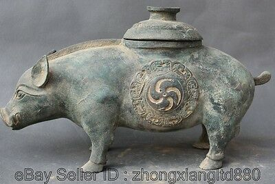 """16"""" Old Museum China Dynasty Palace Bronze Archaic Zodiac Year Pig Statue Zun M"""