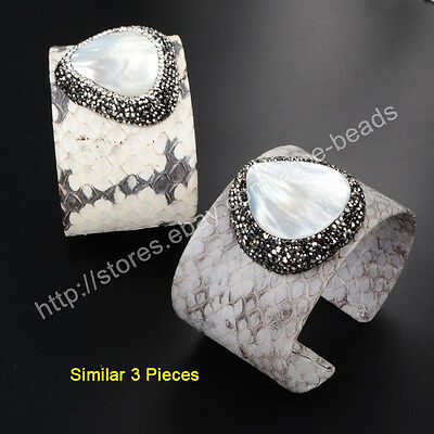 3Pcs Natural White Shell Snakeskin Leather Cuff Open Bangle With CZ Paved TJA426