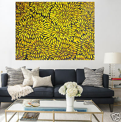 "39"" Bush Petals yellow   oil Painting Aboriginal Art Canvas Large jane crawford"