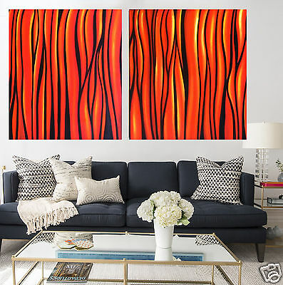 Diptych Bush Fire Abstract Painting Aboriginal Art Canvas Large jane crawford