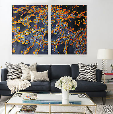 Diptych Contemporary Reef Painting Aboriginal Art  Ocean Australia Jane Crawford
