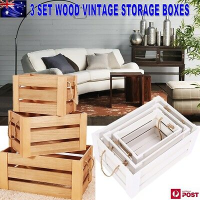 3 Set Wood Vintage Shabby Rustic Chic Crates/Storage Boxes Decoration Display AU