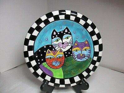 Cat Plate Milson And Louis Hand Painted 3 Cats 8 Inches