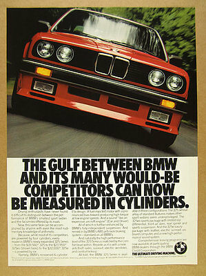 1986 BMW 325es 325 Series red car color photo vintage print Ad
