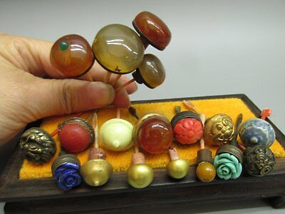 A Set Of (18) Chinese Snuff Bottle Tops & Spoons