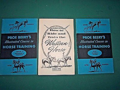 Lot of 3 Booklets on Horse Training, Prof. Beery Book 2, 3  & the Western Horse