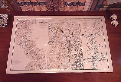Original Civil War Map MARCH TO THE SEA Chattanooga Tennessee to Atlanta Georgia